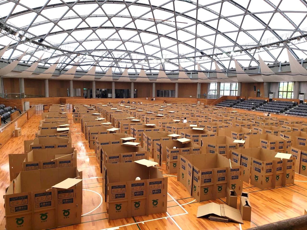 大型台風10号の九州上陸で、当社製造の段ボールベッド&パーテイションが使用されました。のイメージ